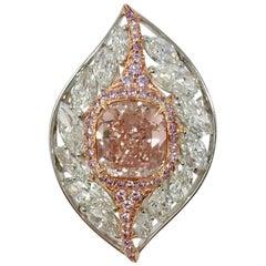 GIA 8.65 Carat Fancy Brownish Orangy Pink Cushion Brilliant IF Ring in 18 Karat