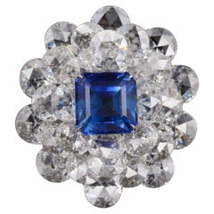 AGL Certified 13.19 Carat Blue Sapphire Kashmir and White Rose Cut Diamond Ring