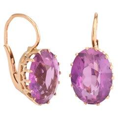 Vintage Russian Soviet Era Pink Paste Earrings 14 Karat Gold Estate Fine Jewelry
