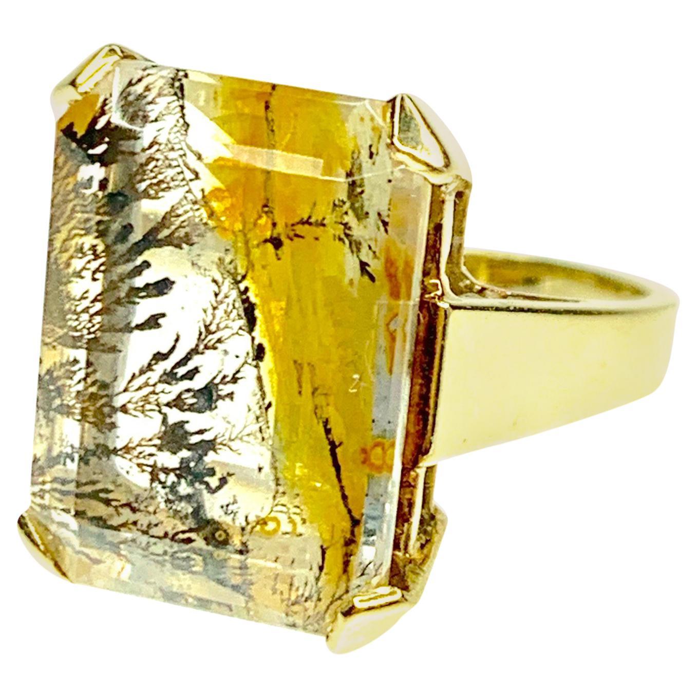 GEMOLITHOS Dendrite Quartz Ring 14 Karat Gold