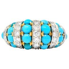 Tiffany & Co. Retro French Diamond Turquoise 18 Karat Gold Ring