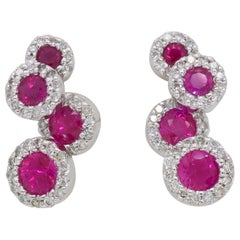 Diamond and Ruby Movable Earrings