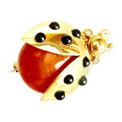 Ladybird Coral and Onyx Brooch 18 Karat Gold