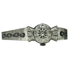 Antique Hamilton 14 Karat White Gold and Diamond Watch, circa 1950