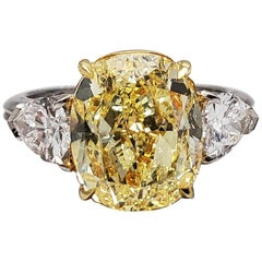Scarselli 5.68 Carat Fancy Intense Yellow Cushion Cut Diamond Ring in Platinum