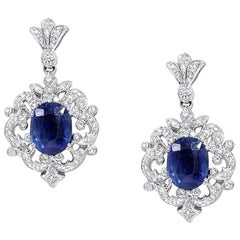 2.00 Carat Oval Cut Blue Sapphire and Diamond Drop Earrings