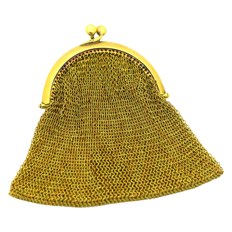 Tiffany & Co. Vintage Mesh Purse 18 Karat Yellow Gold