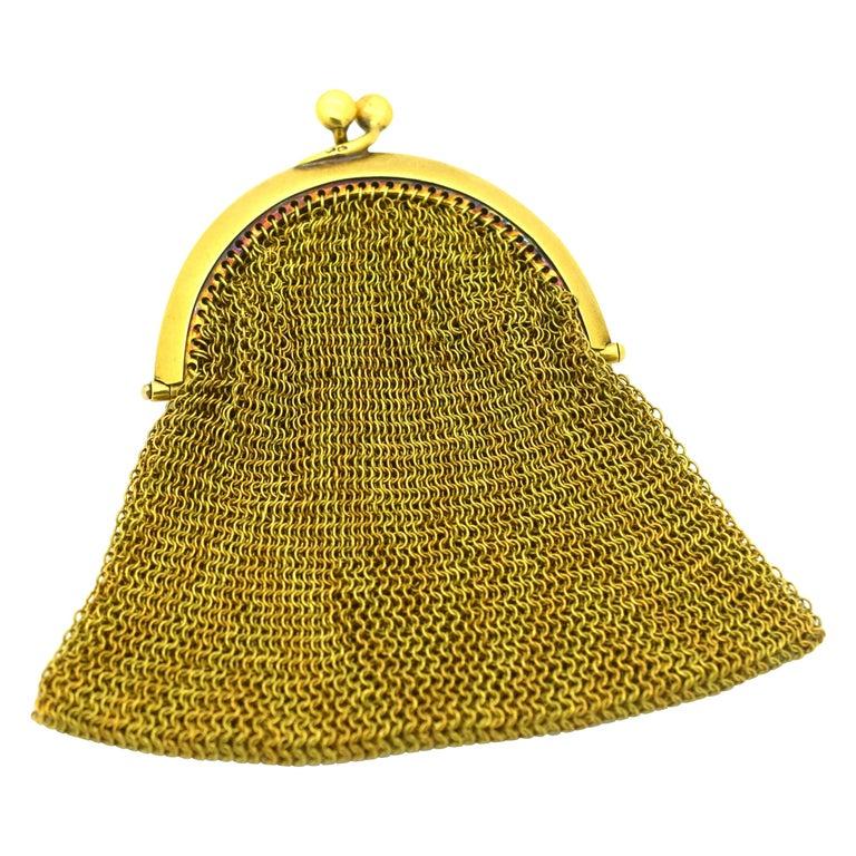 Tiffany & Co. Vintage Mesh Purse 18 Karat Yellow Gold For Sale