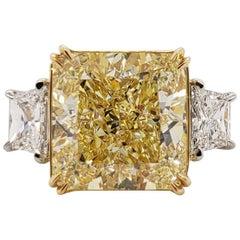 Scarselli 11 Carat Fancy Yellow Radiant Diamond Ring in Platinum 'GIA'