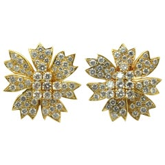 Diamond Earrings 10.20 Carat Vintage Clip on Floral Design 18 Karat Yellow Gold