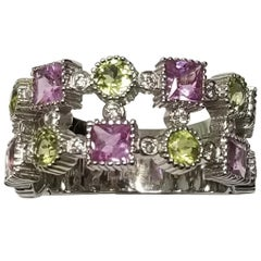 Peridot, Pink Sapphire and Diamond Ring