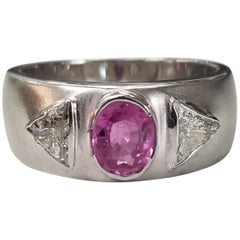 Pink Sapphire and Trillion Cut Diamond Ring