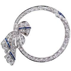 Art Deco Diamond Platinum Circle Brooch
