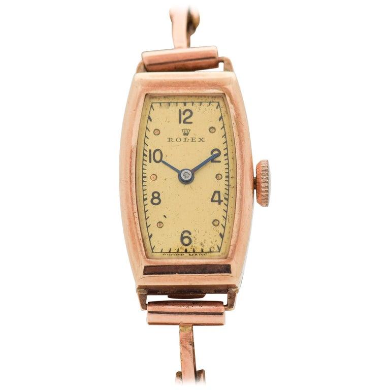 15c3c962889 Vintage Rolex Ladies 9 Karat Rose Gold Watch, 1930s For Sale at 1stdibs