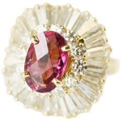 3 Pink Tourmaline and 5 Carat Diamond Convertible Ballerina Ring Pendant