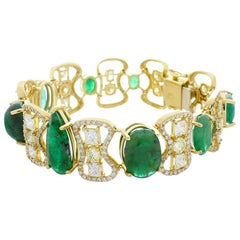 30.30 Carat Total Emerald and Diamond Bracelet in 18 Karat Yellow Gold