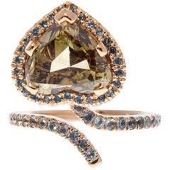 GIA Certified 5.02 Carat Fancy Dark Brownish Yellow Heart Shaped Diamond Ring