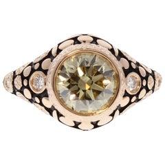 GIA Certified 2.01 Carat Natural Fancy Brownish Yellow Diamonds Cocktail Ring
