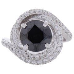 2.92 Carat Black Diamond and White Diamond Cocktail Ring in 18 Karat White Gold