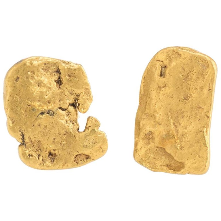 bdf49ac2b Natural Gold Nugget Earrings 24k Organic Stud Estate Fine Jewelry Heirloom  14k For Sale