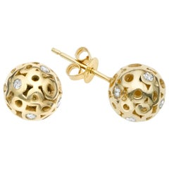 White Diamond 0.42 Carat Sphere Stud Earring