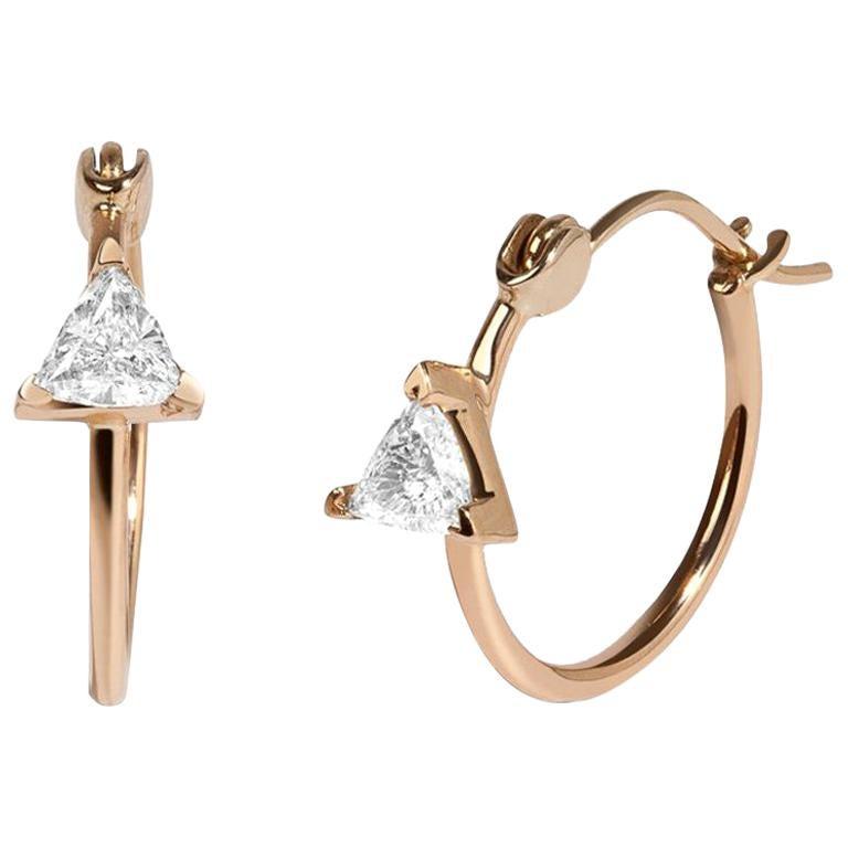 5044fd78abf82b White Trillion Diamond 0.46 Carat 14 Karat Yellow Gold Hoop Earrings For  Sale