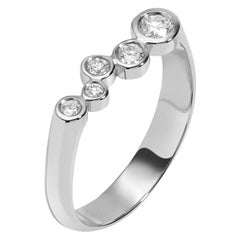 0.27 Carat White Diamond 14 Karat White Gold Bar Ring