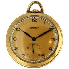 Vintage Longines 18 Karat Gold Manual Winding Pocket Watch, circa 1920s