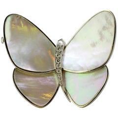 Van Cleef & Arpels, 18 Karat White Gold and Mother of Pearl Butterfly Brooch