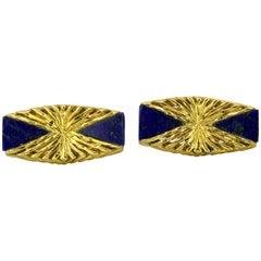 Kutchinsky, 18 Karat Yellow Gold and Lapis Lazuli Cufflinks, London, 1972