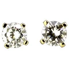 18 Karat Gold Ladies Screw-Back Earrings with Diamonds, circa 1990s