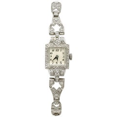 Antique 1935 1.93 Carat Diamond and Platinum Cocktail Watch