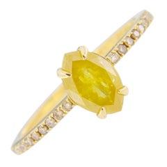 Jona Fancy Yellow Diamond and Brown Diamond 18 Karat Yellow Gold Solitaire Ring