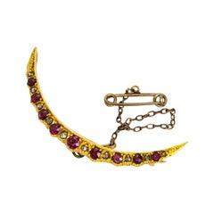 Edwardian Ruby and Diamond 15 Carat Gold Brooch