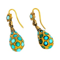 Victorian Turquoise and 9 Carat Gold Earrings