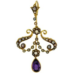 Victorian 15 Karat Gold Pendant with Natural Seed Pearls and Amethyst circa 1880