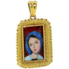 Antique French 18 Karat Gold Enamel Portrait Pendant, France Early 20th Century