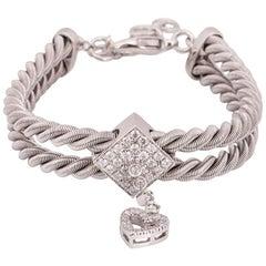 Kutchinsky White Gold Diamond Rope Heart Bracelet