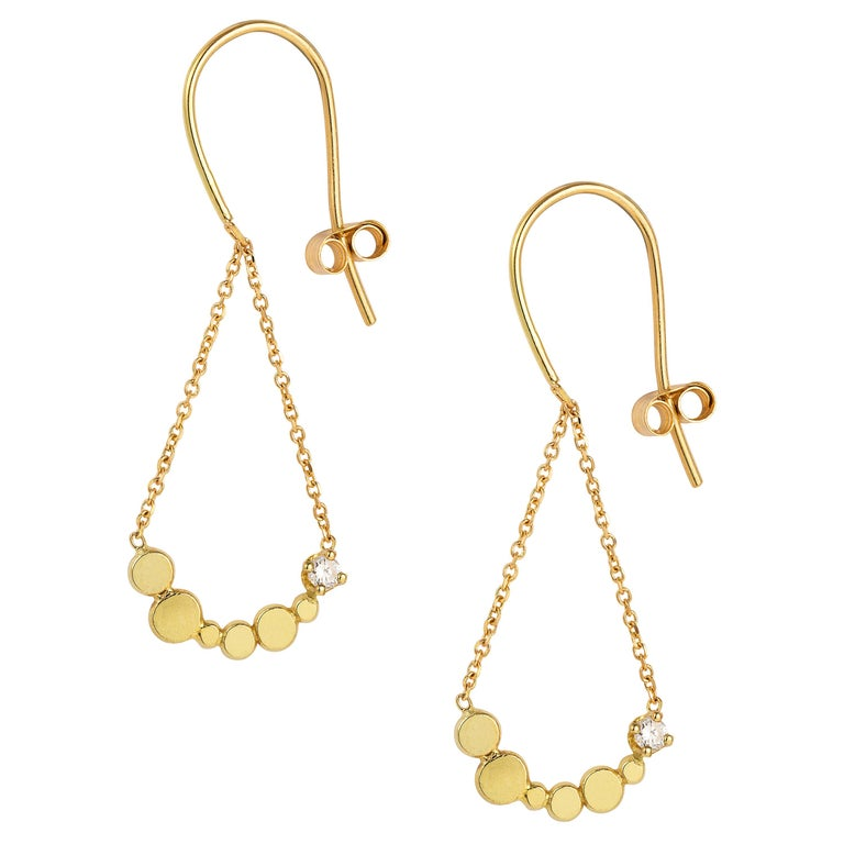 8ed295478 Sweet Pea Bits and Bobs 18k Yellow Gold Hook Earrings with Diamond Bar and  Chain For