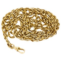 Edwardian 9 Carat Gold Long Guard Chain