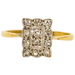 1910 Edwardian Diamond und 18 Karat Gold-Panel Ring