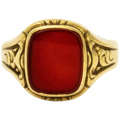 Late Victorian Carnelian and Gold Signet Ring