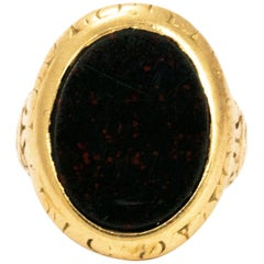 Edwardian Bloodstone Gold Ring