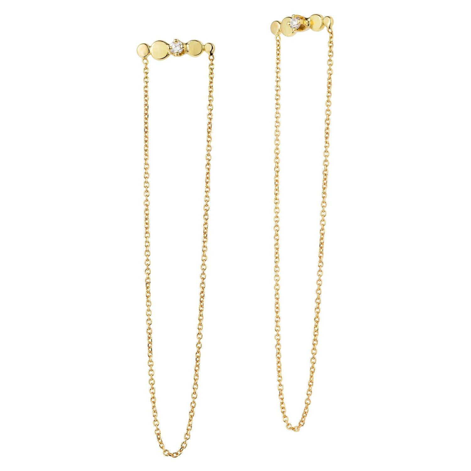 06530171f Sweet Pea Bits and Bobs 18k Yellow Gold Bar Stud and Chain Diamond Earrings  For Sale at 1stdibs