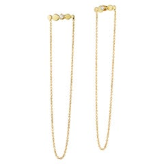 Sweet Pea Bits and Bobs 18k Yellow Gold Bar Stud and Chain Diamond Earrings