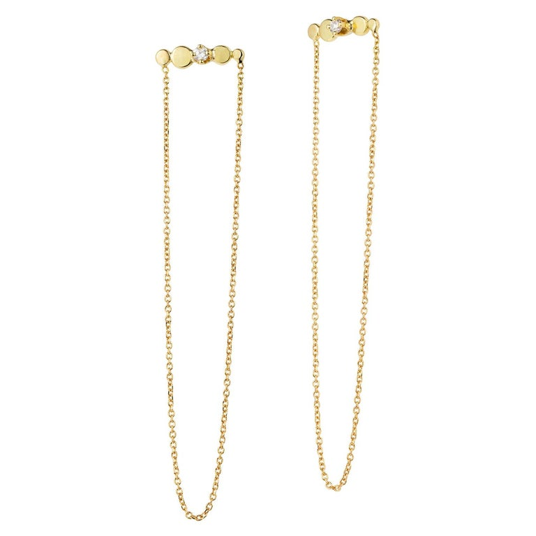 c9810ed90 Sweet Pea Bits and Bobs 18k Yellow Gold Bar Stud and Chain Diamond Earrings  For Sale