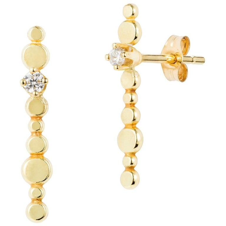 d2469c355 Sweet Pea Bits and Bobs 18k Yellow Gold Long Bar Stud Earrings with Diamonds  For Sale