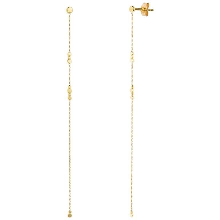 eda8ef153 Sweet Pea Bits and Bobs 18k Yellow Gold Disc Stud Earrings With Long Chains  For Sale