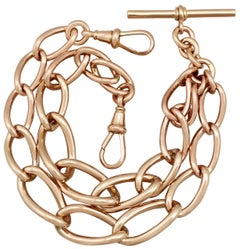 1917 Antique Rose Gold Double Albert Watch Chain