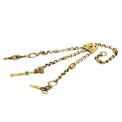 Victorian Chatelaine Chain with Turquoise and 9 Carat Gold